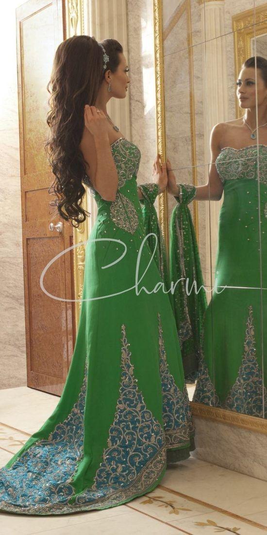 Green & Blue Off Shoulder Evening Reception Dresses