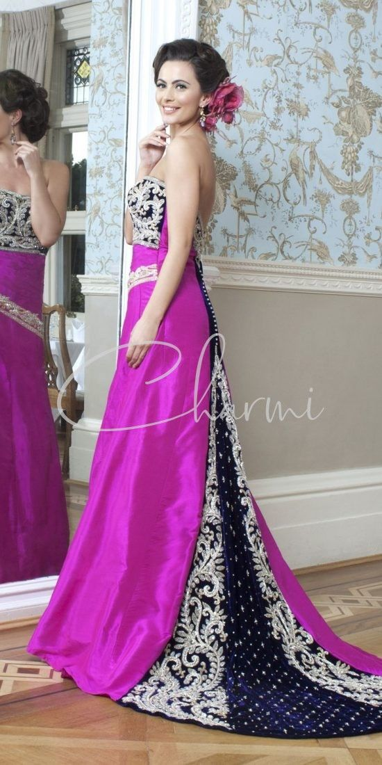 Pink & Purple Fusion Bridal Wedding Gown