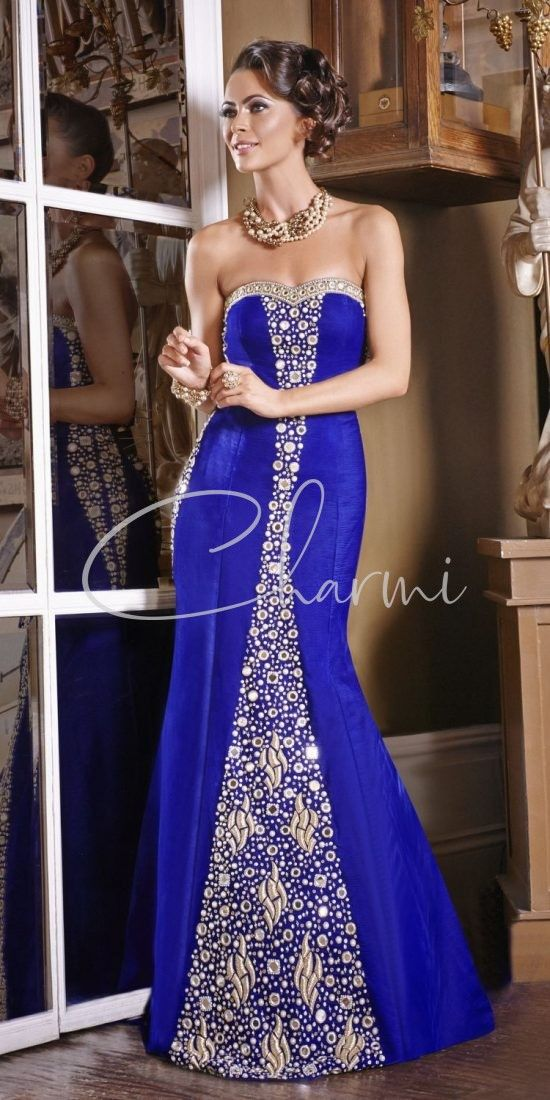 Blue Velvet Reception Wedding Gown with a Trail