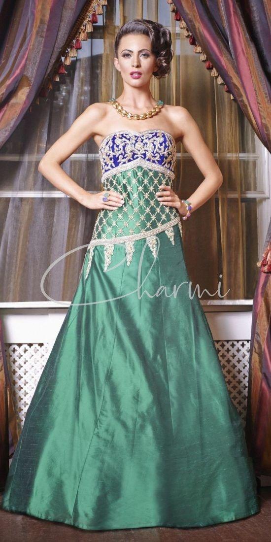 Green & Blue Fusion Wedding Reception Dress