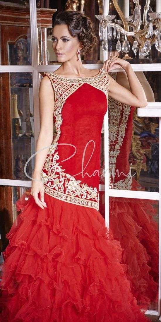 Red Ruffled Fusion Reception Party Dress