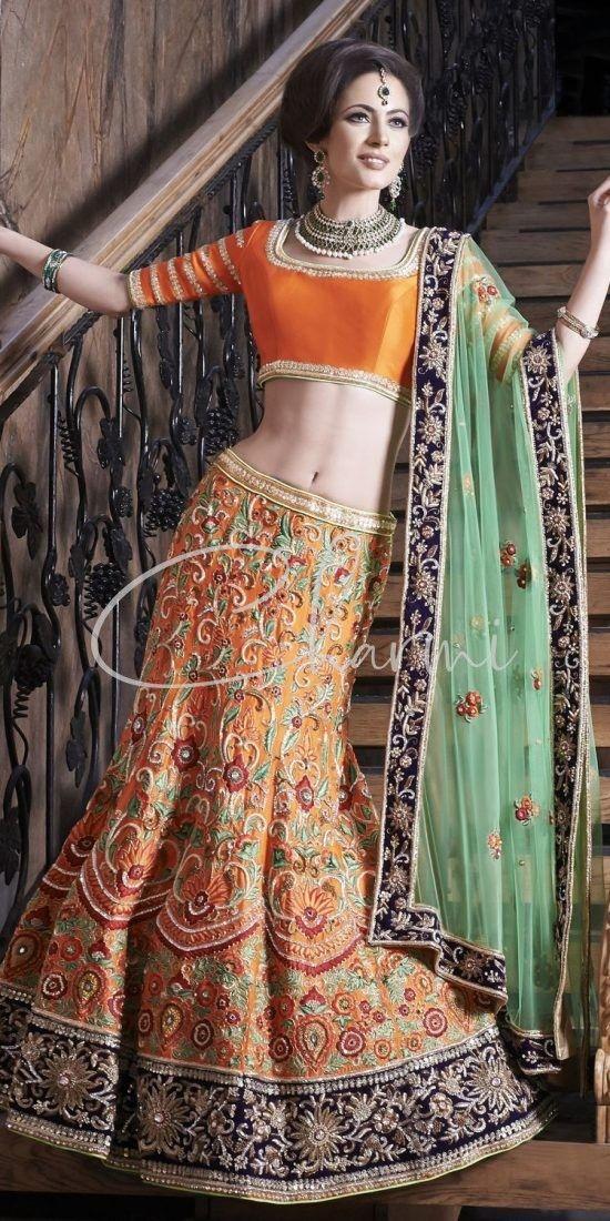 Orange & Green Sangeet Dress - Indian Pre Wedding Lehenga