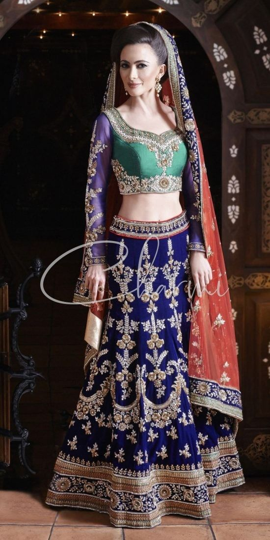 Blue & Green Traditional Indian Bridal Wear Lehenga