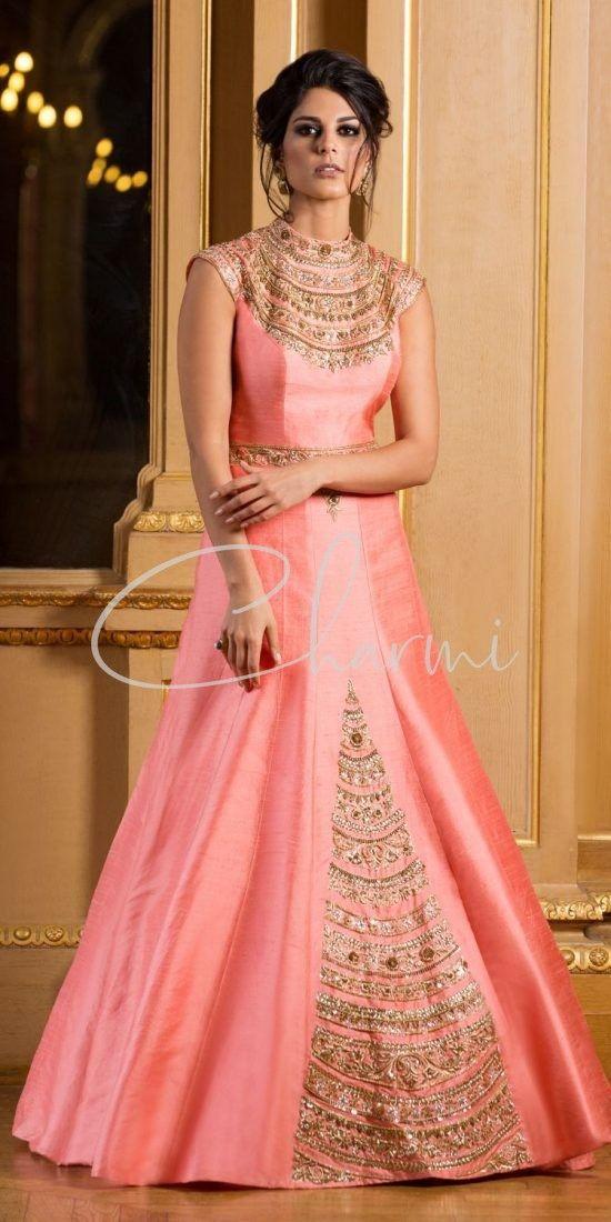 Pink Raw Silk Indian Wedding Dress