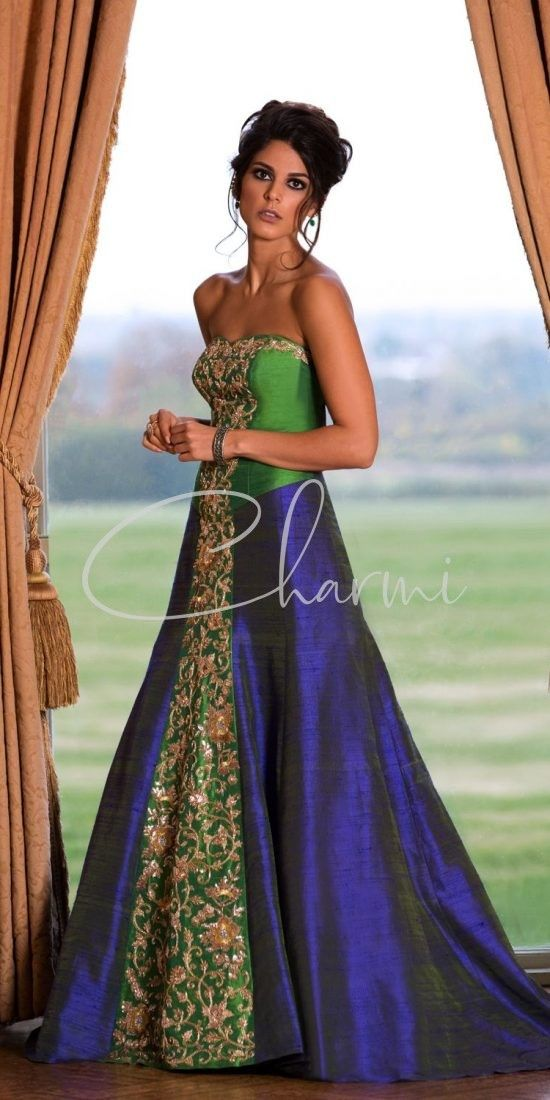 Blue & Green Reception Indian Gowns UK