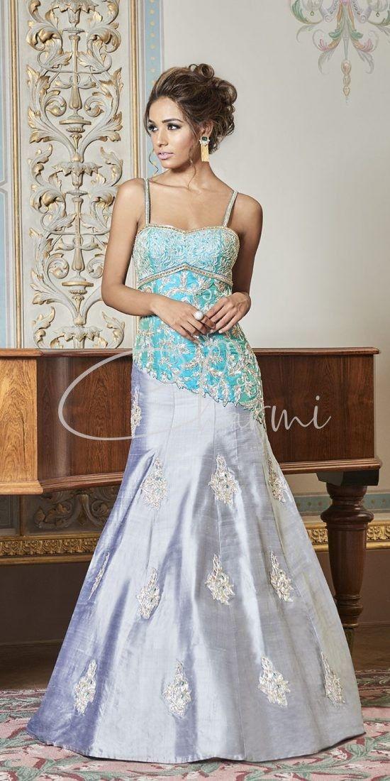 Silver & Blue Registry Indian Wedding Dress