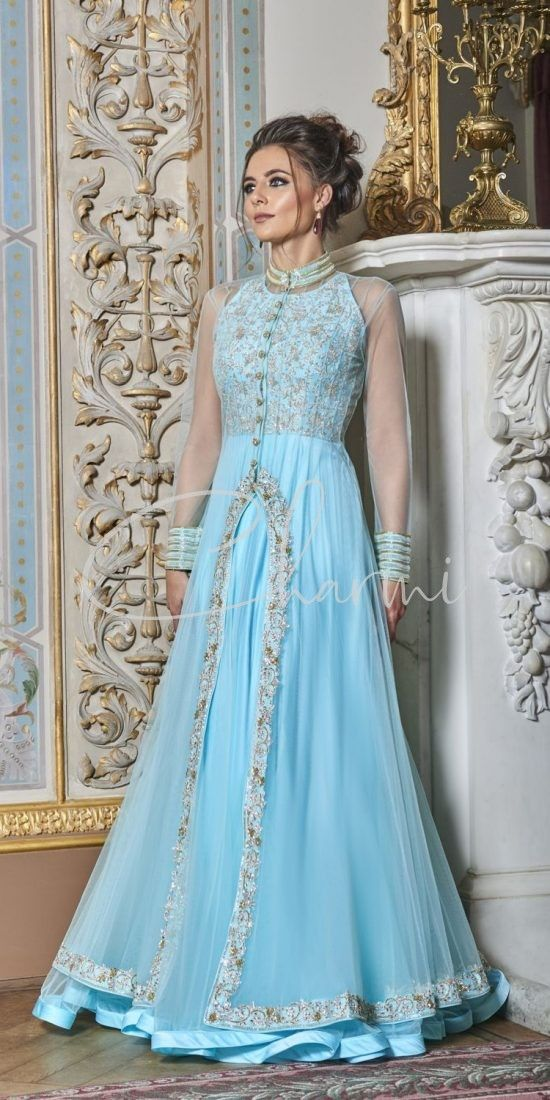 Sky Blue Cocktail Wedding Gown