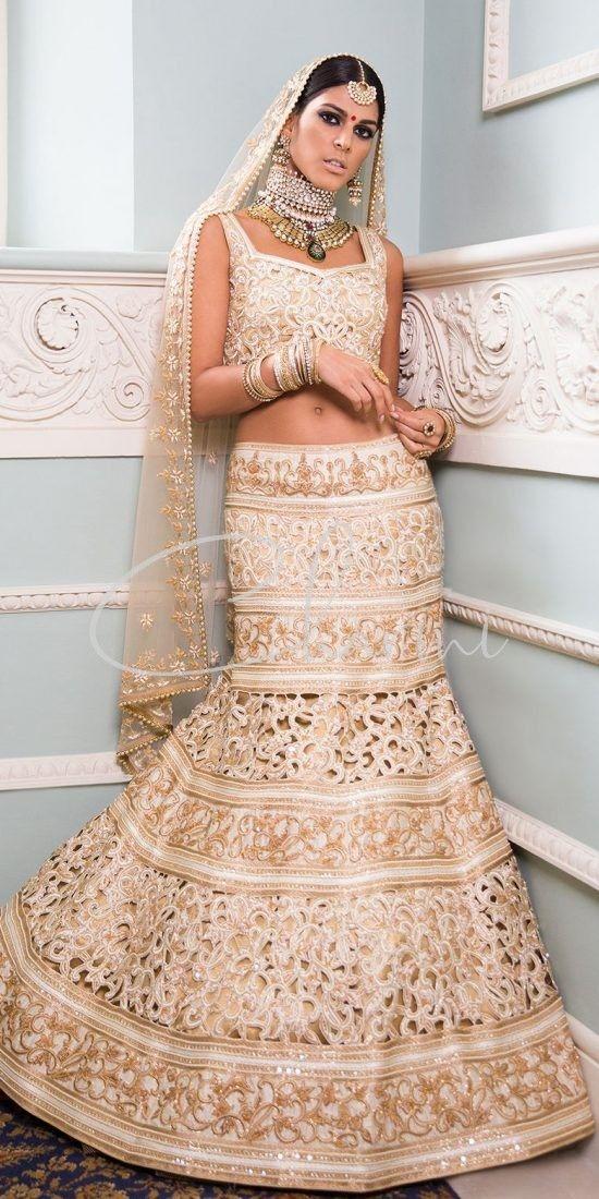 Ivory & Gold Cut work Fusion Bridal Wear