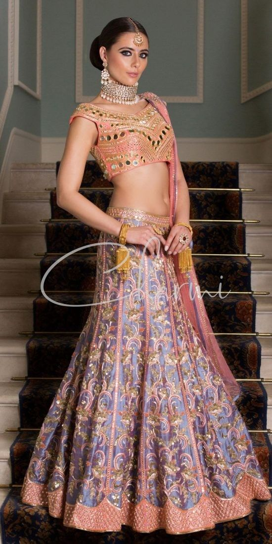 2 Tone Blue Peach Lehenga - Asian Party Dresses