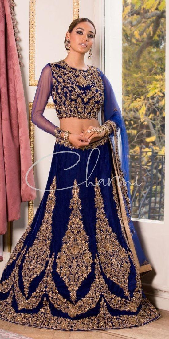 Traditional Navy Blue Velvet Lehenga - Indian Outfit