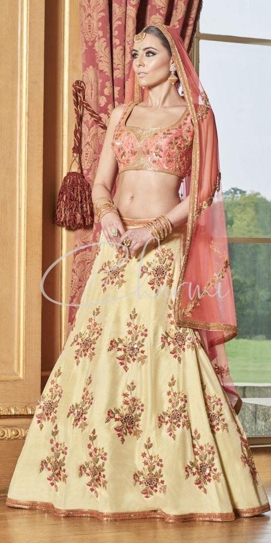 Lemon Yellow & Peach Lehenga - Indian Wedding Wear