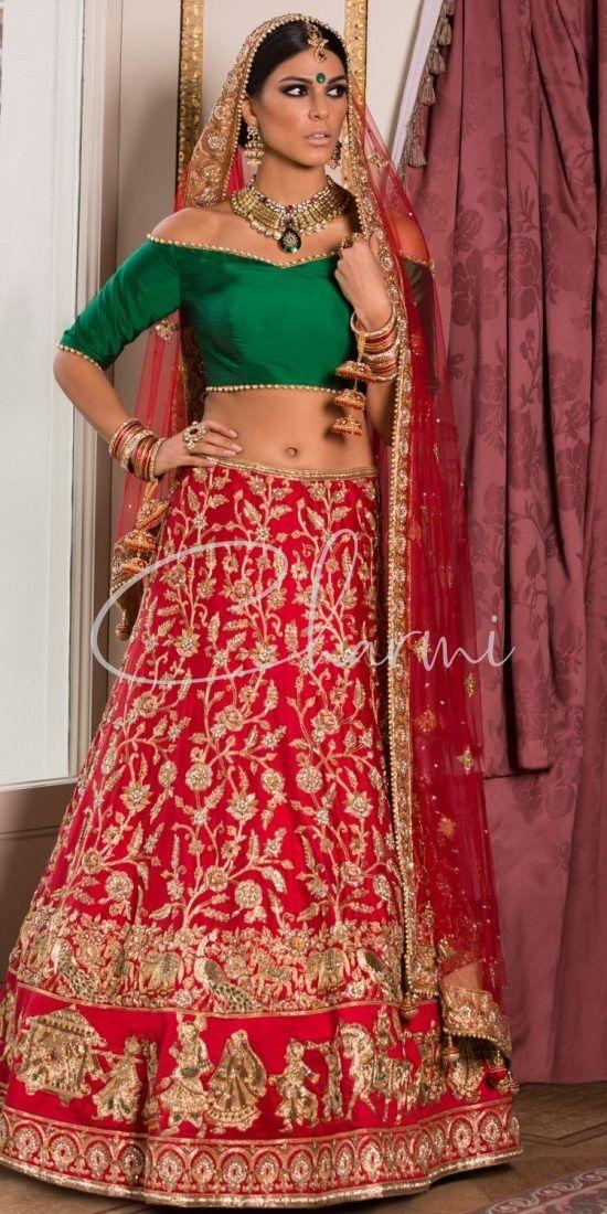 Green Blouse & Red Raw Silk Indian Wedding Lehenga in Uk