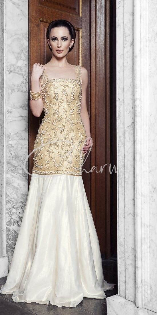Ivory & Gold Registry Wedding Dress
