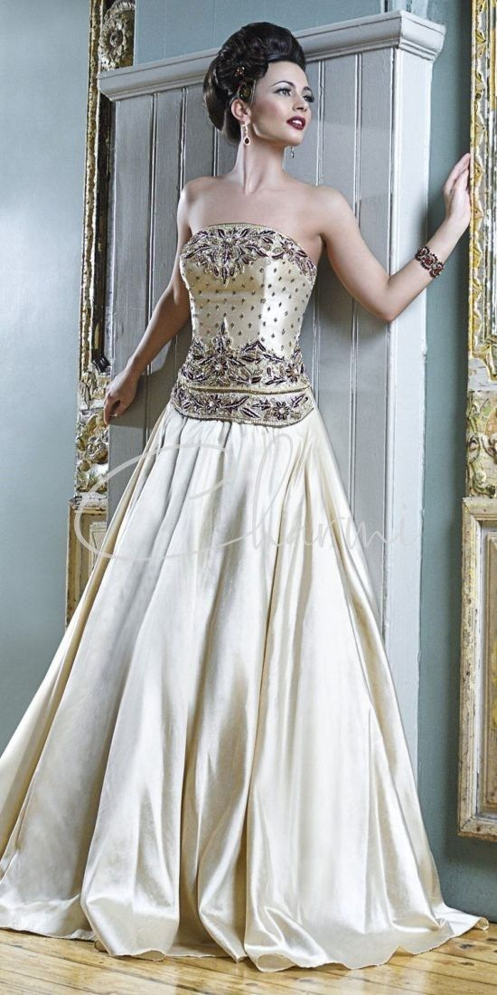 Champagne Gold Fusion Wedding Gown