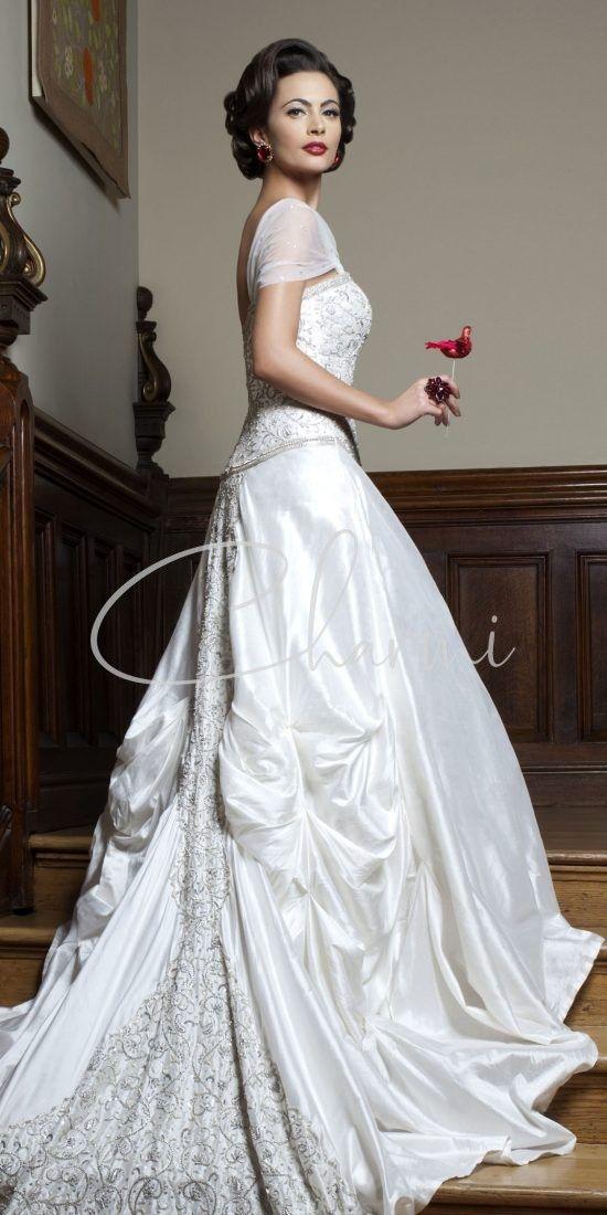 White Raw Silk Registry Wedding Dress