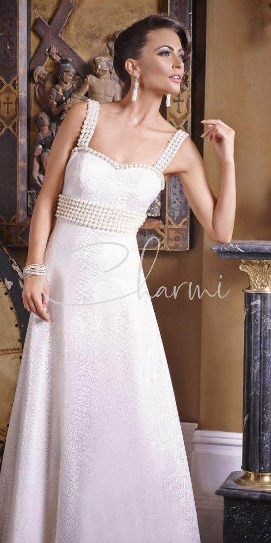 White Wedding Gown with Pearls in UK