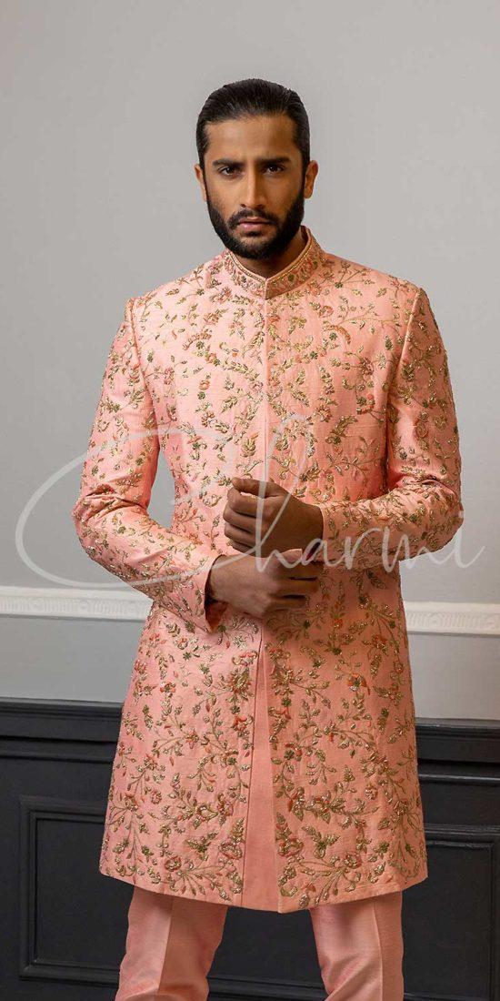 Peach Raw Silk Sherwani for Groom UK