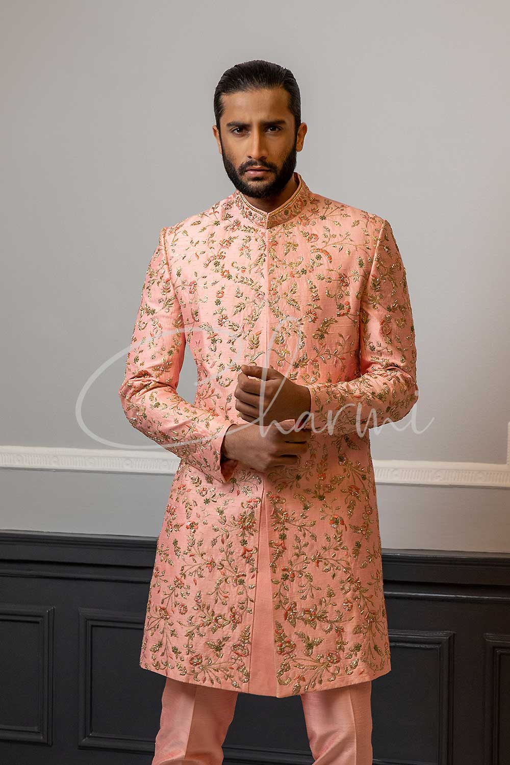 Peach Raw Silk Sherwani for Groom UK