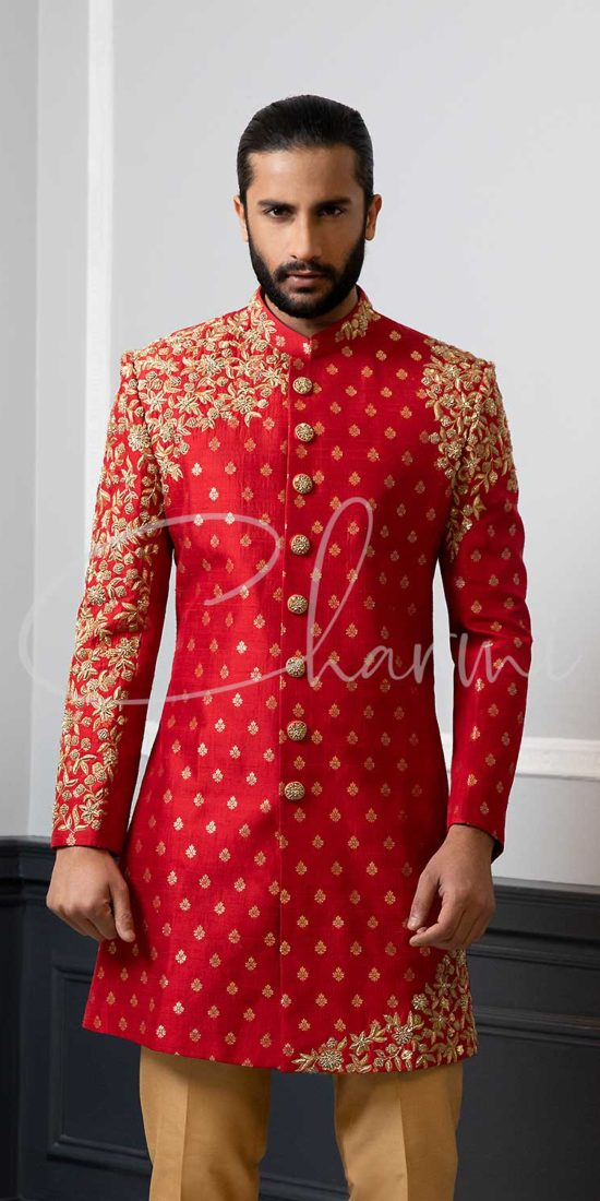Red Brocade Mens Wedding Sherwani