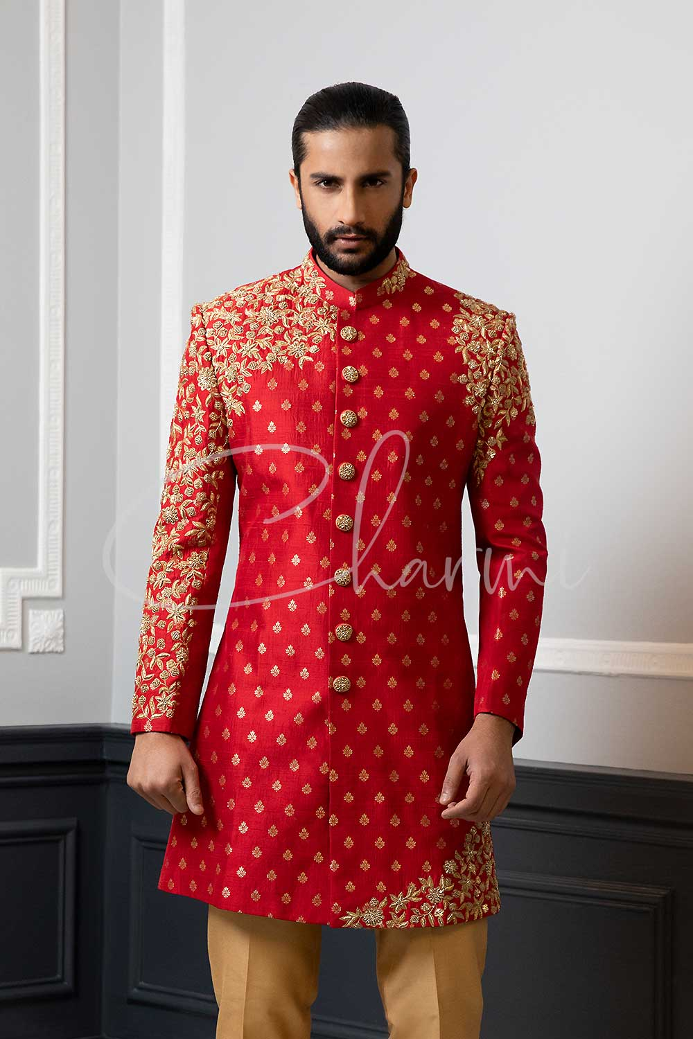Red Brocade Mens Wedding Sherwani