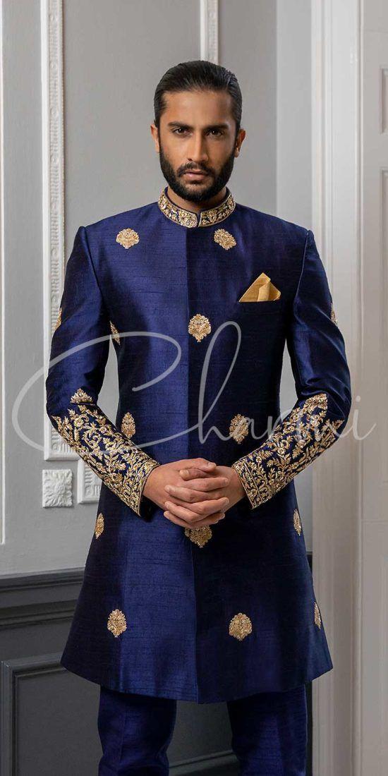 Navy Blue Sherwani for Groom
