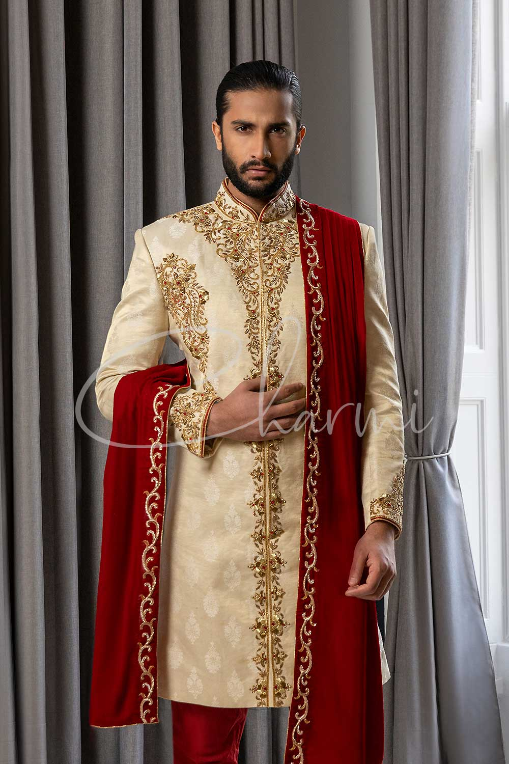 Gold Sherwani with Red Churidar - Asian Groom Outfit