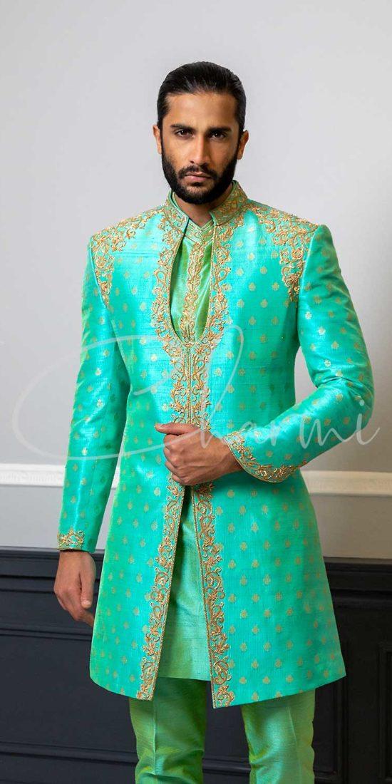 Green Brocade Silk 3 Piece Mens Wedding Sherwani UK