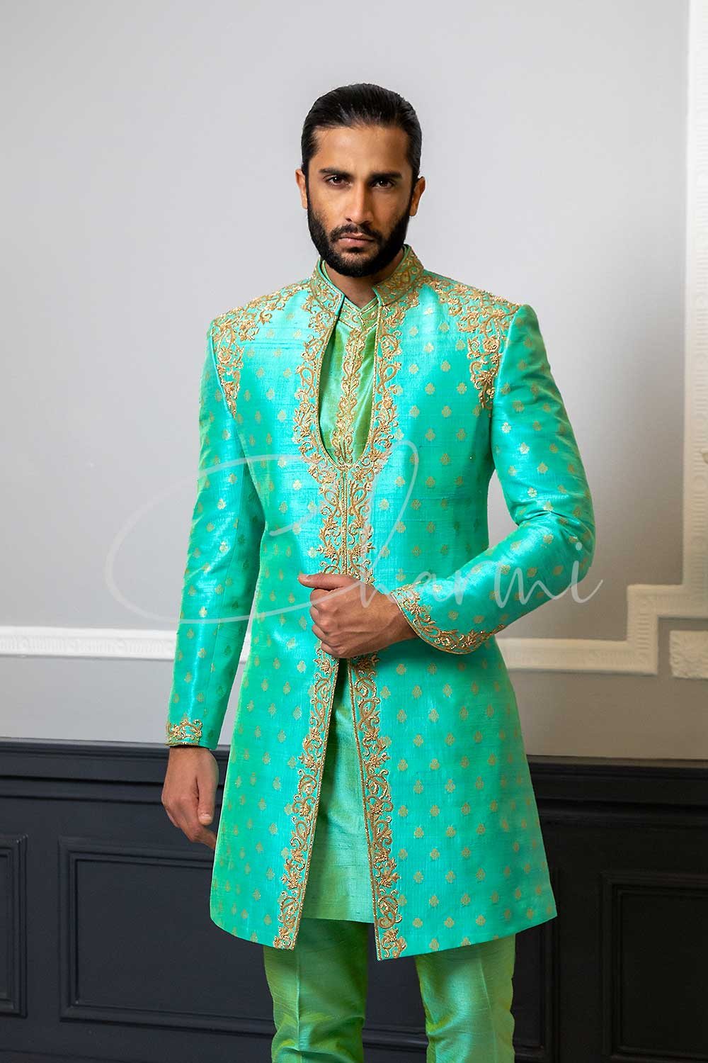 Green Brocade Silk 3 Piece Mens Wedding Sherwani UK