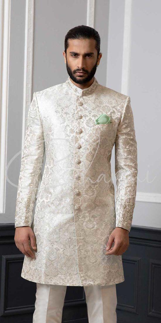 White Brocade Silk Sherwani for Groom
