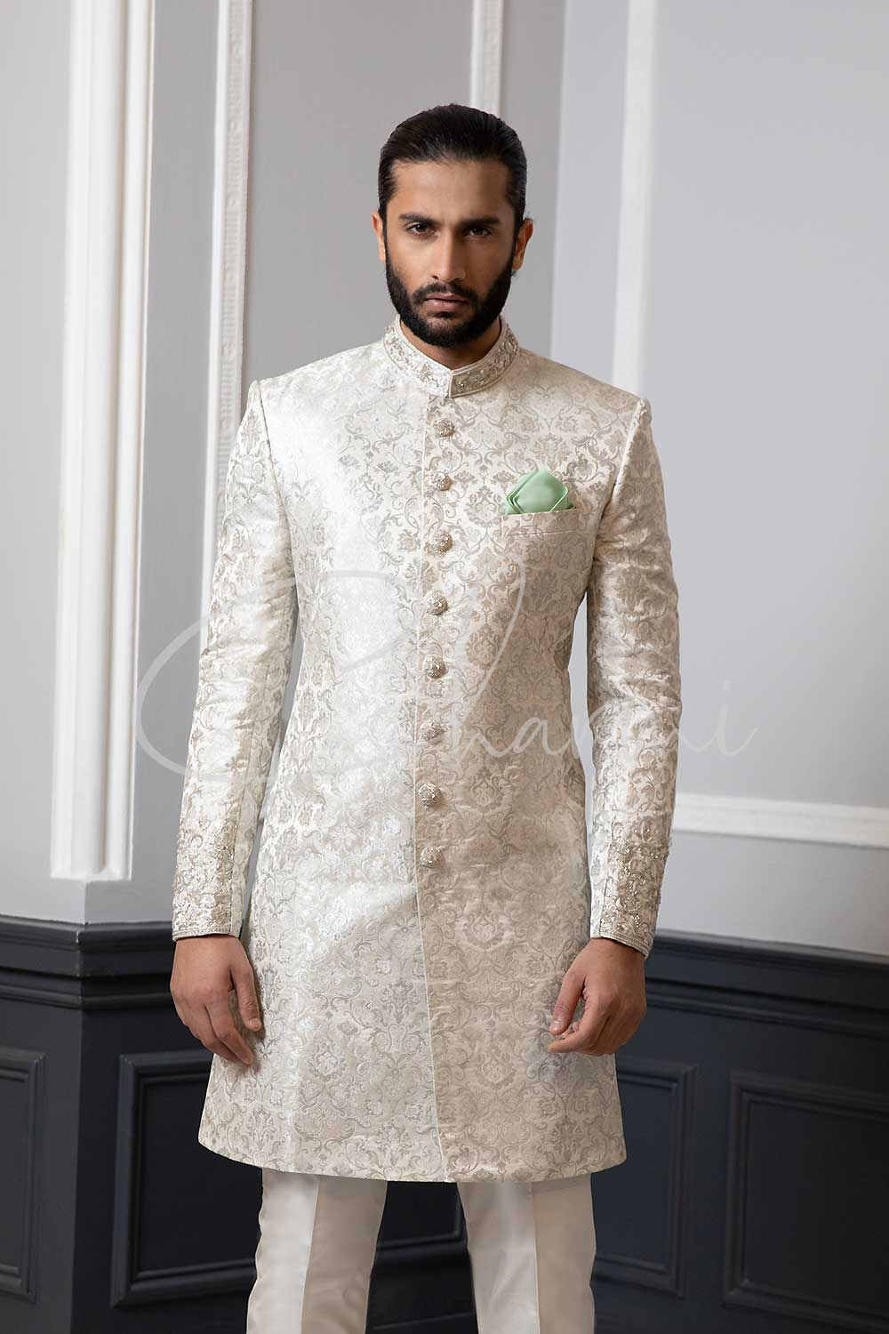 White Brocade Silk Sherwani for Groom