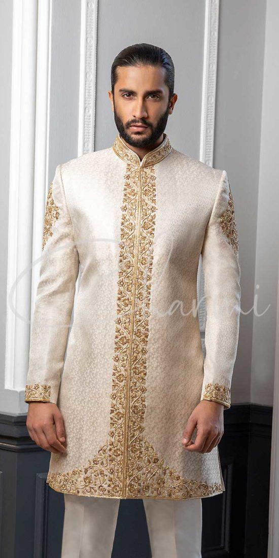 Ivory Brocade Silk Sherwani for Groom