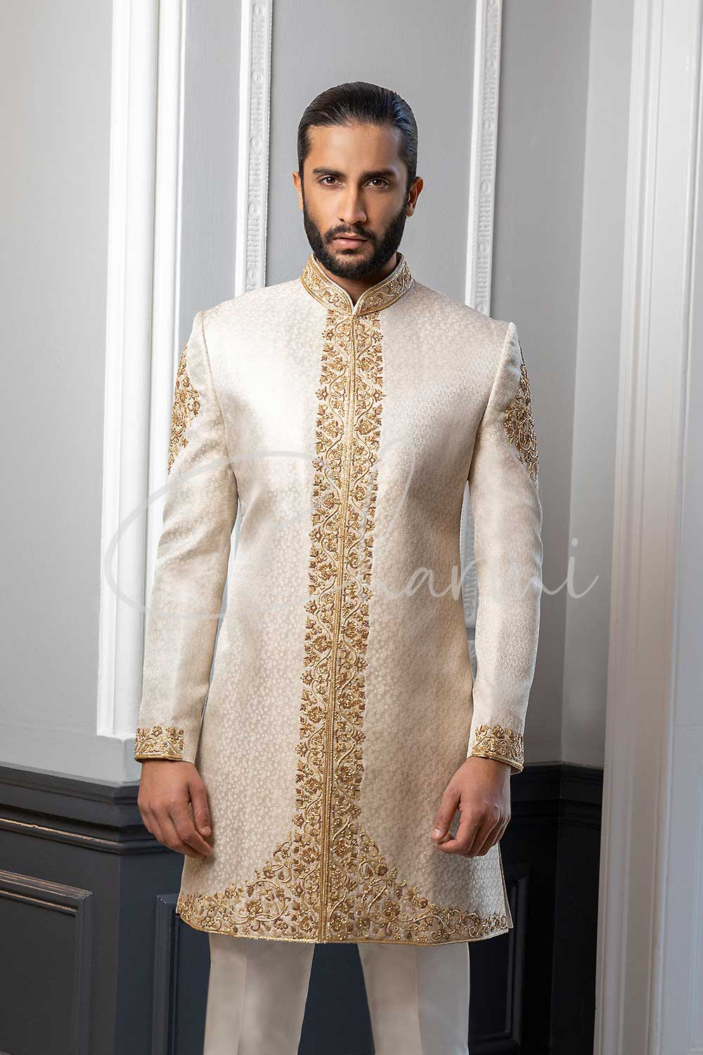 Ivory Brocade Silk Sherwani for Groom