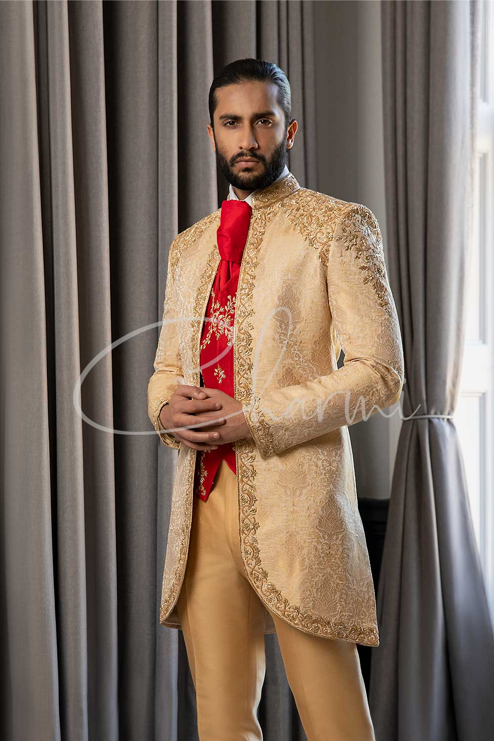 Gold Brocade 4 Piece Fusion Suit for Groom