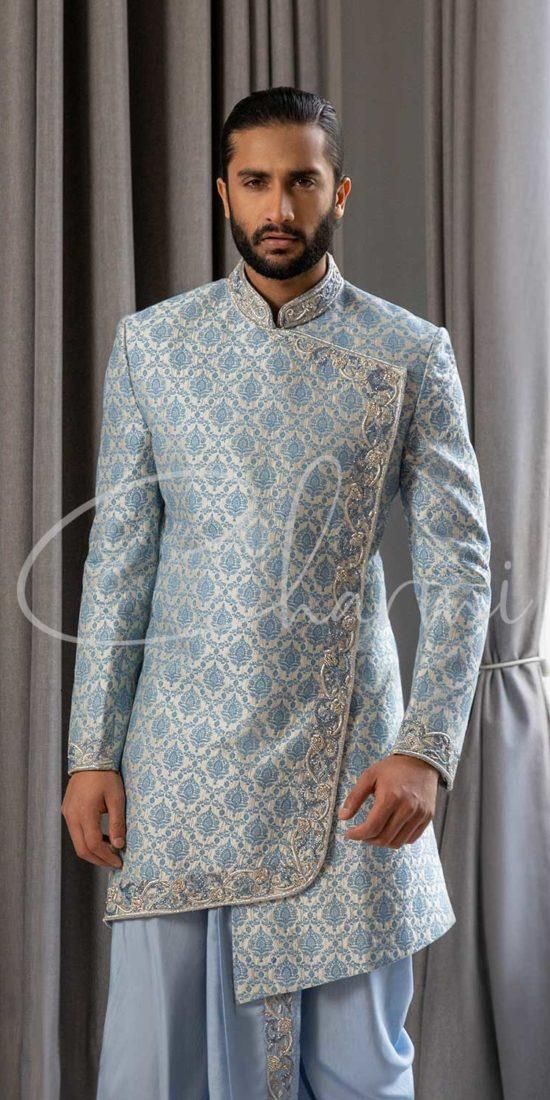 Ice Blue Silk Asymmetrical Sherwani for Men