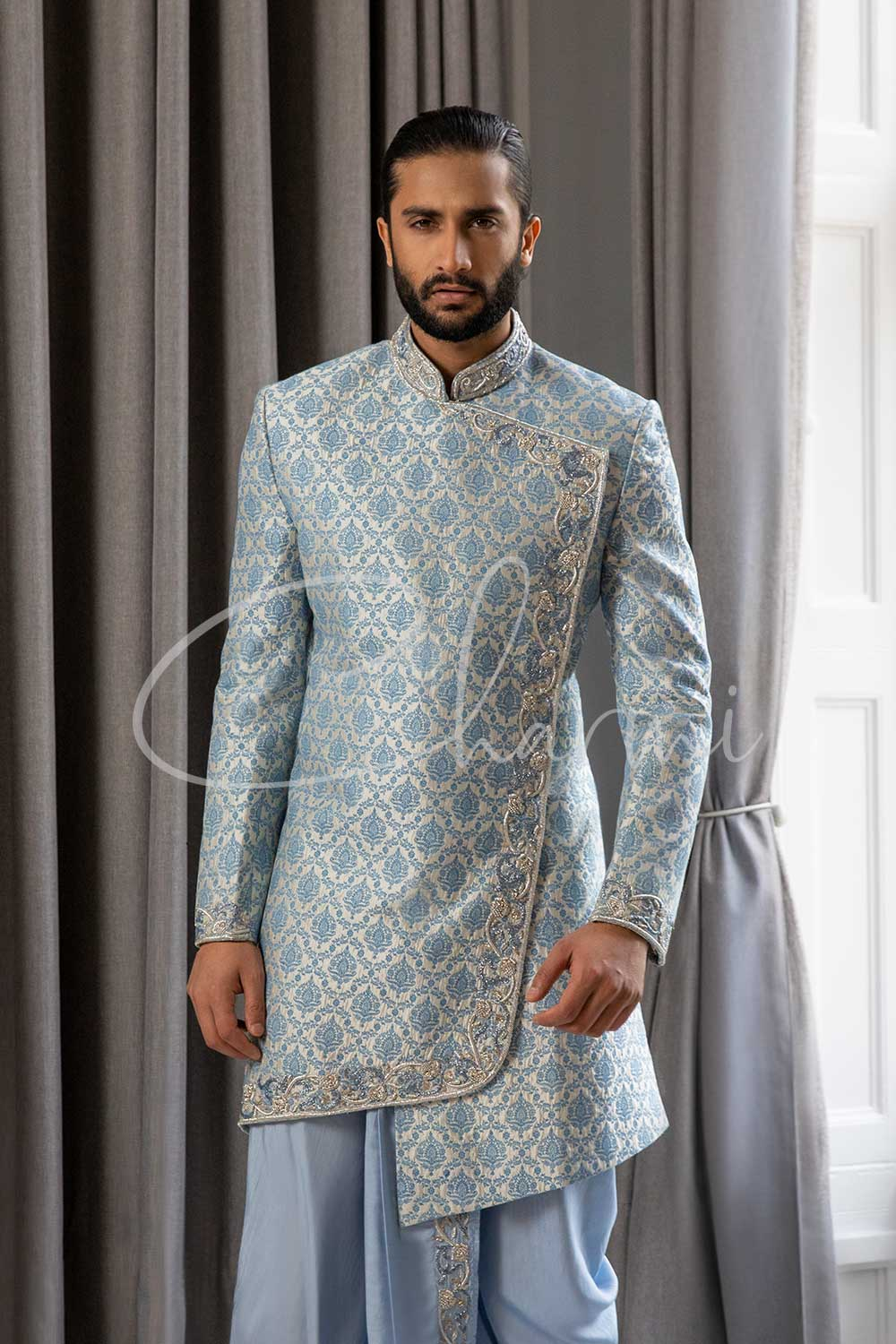 Ice Blue Silk Asymmetrical Sherwani for Men
