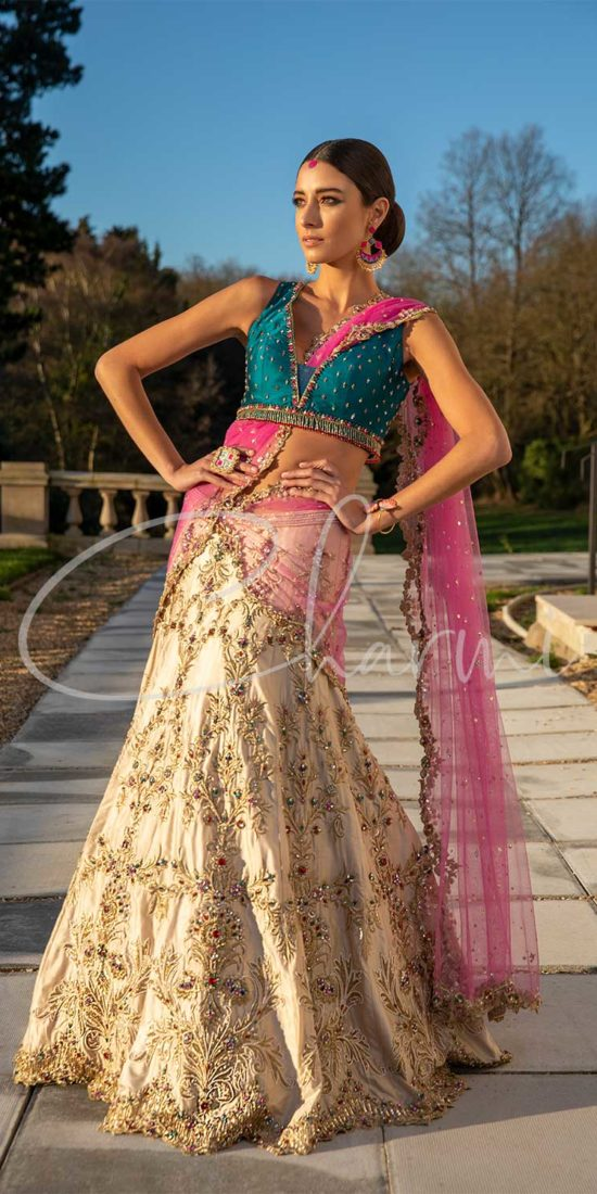 Champagne Gold Bridal Wedding Lehenga with Pink Dupatta
