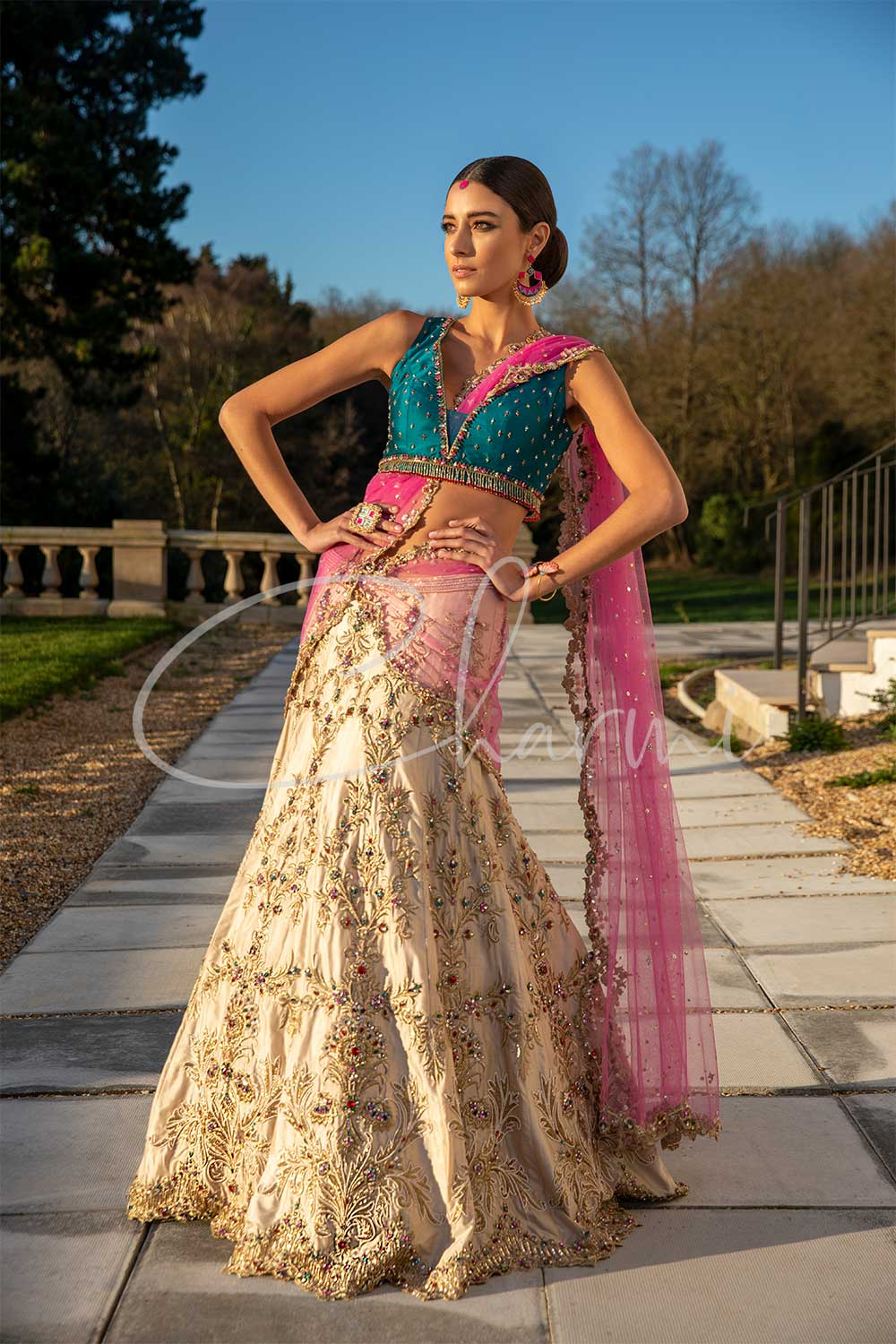 Champagne Gold Bridal Wedding Lehenga with Pink Dupatta