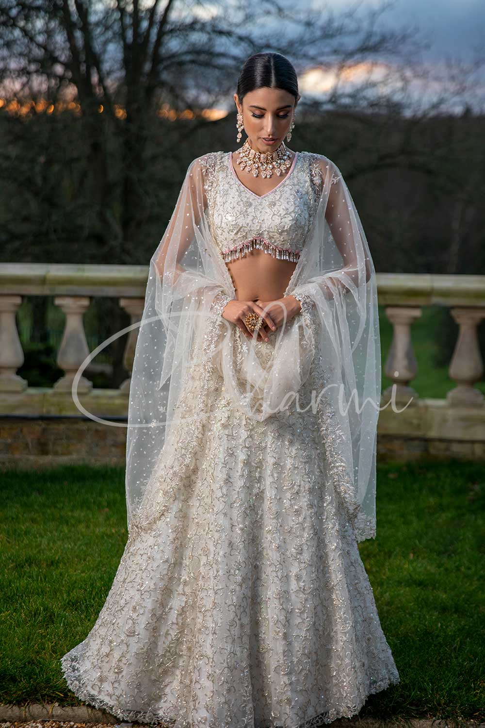 Classic White Hand Embroidered Indian Wedding Lengha