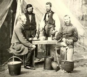 Civil War soldier eating hardtack