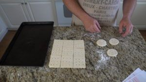 Place hardtack dough on cookie sheet