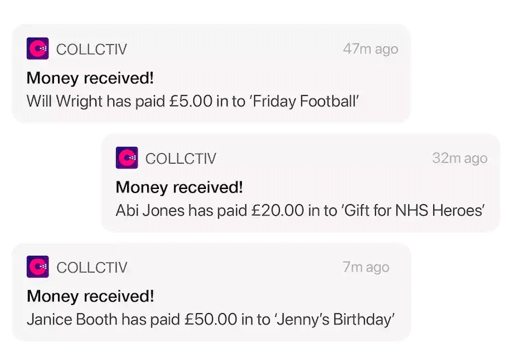Notifications of money being received