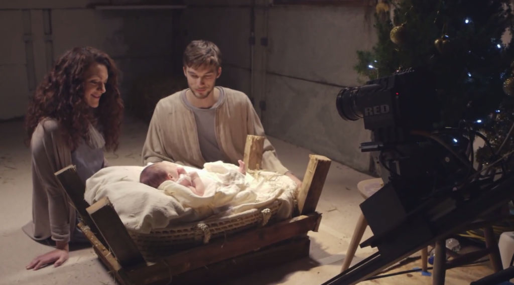 Baby Jesus on set with the commercial film production Christmas Starts with Christ, shot on Red Epic Dragon