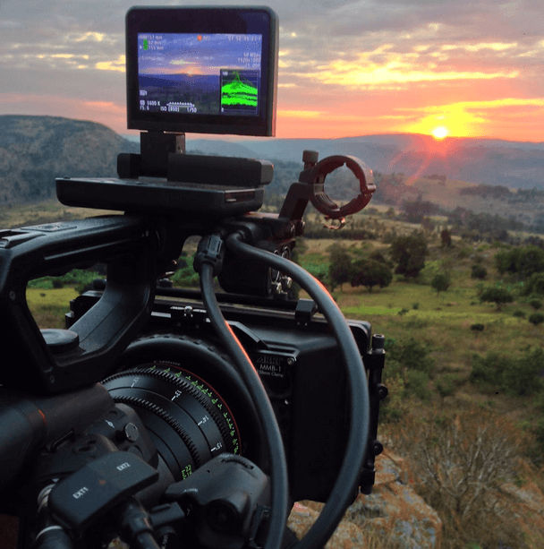 Camera at sunset video production