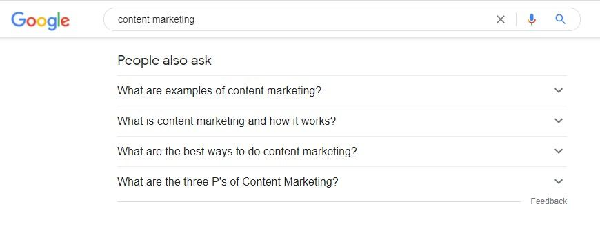 image showing the people also ask results in a search query