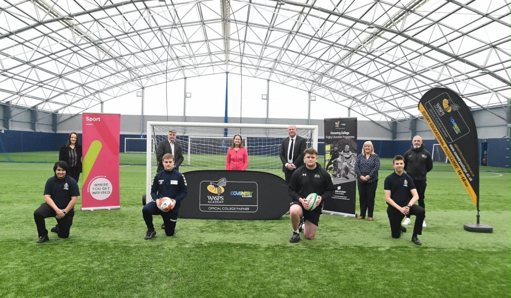 Rugby students and staff at Alan Higgs Centre