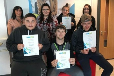 Coventry College learners who completed a traineeship programme.