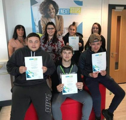 Coventry College Employability Hub students with their certificates