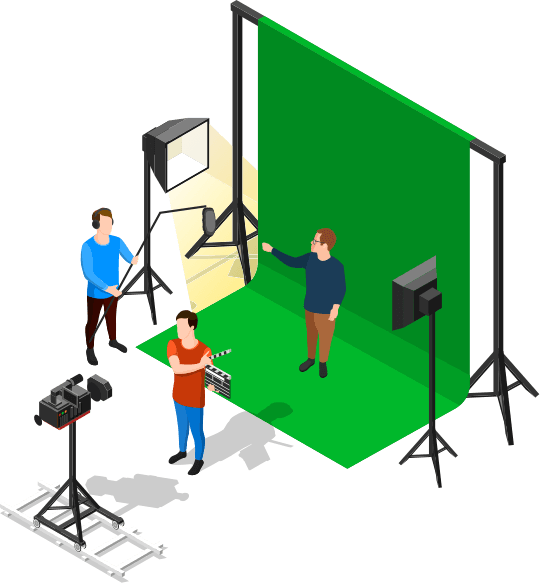Illustrated video production scene infront of greenscreen