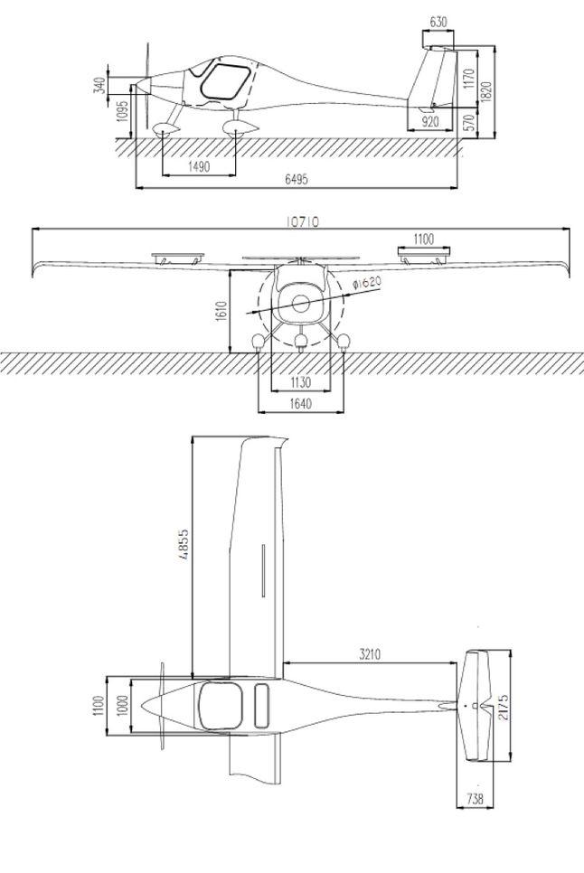 dimensions Pipistrel SW121