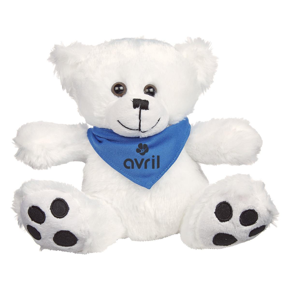 "8  ½"" White Big Paw Bear Bandana"